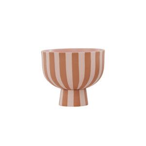 OYOY Toppu skål karamel og rosa striber