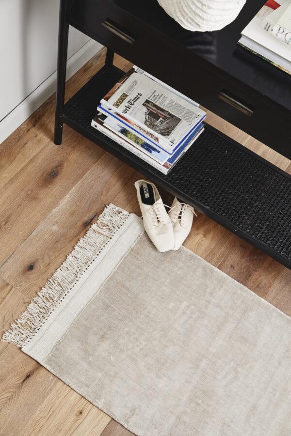 FILUCA tæppe med frynser fra Nordal i beige størrelse 60x90