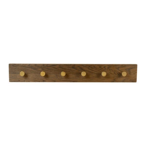 MOUD Home oak knagerække smoked med 6 messing knager - 70 cm