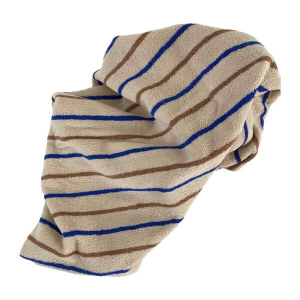 Raita stribet håndklæde fra OYOY i beige, brun og blå