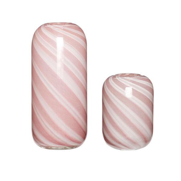 Hübsch glasvase i pink og hvid - sæt med 2 stk.