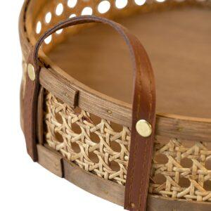 MOUD Home wicker bakke i rattan med læderhanke