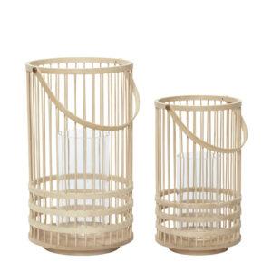 2 stk bambus lanterner fra Hübsch i natur