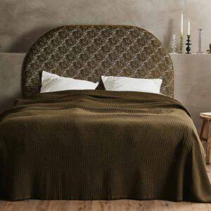 Nordal alpha sengetæppe i mørk grøn bomuld
