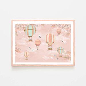 BilledGrossisten pink airballoons plakat til børneværelset