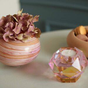 Eden oucast glam fyrfasstage i pink krystal