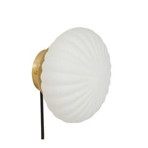 Hübsch væglampe opal glas og messing