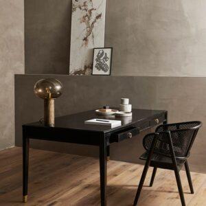 Nordal bordlampe Bes i brun marmor, messing og glas